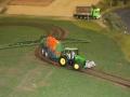 Farmworld Fehmarn Okt. 2015 - John Deere mit Feldspritze auf Schienen-System