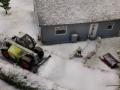Farmworld Fehmarn Winter 2014 - Claas Targo beim Schneeräumen