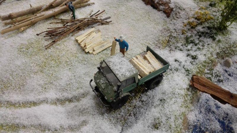 Farmworld Fehmarn Winter 2014 - Unimog mit Stämmen