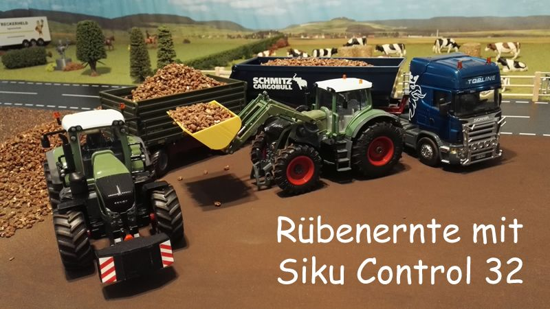 Rübenernte mit Siku Control 32 - Traktoren und LKW