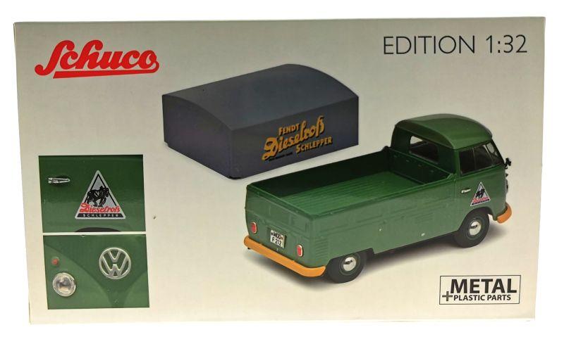 schuco 450785600 - Volkswagen T1b Pritsche Fendt Dieselross Schlepper Karton hinten