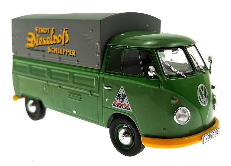 schuco 450785600 - Volkswagen T1b Pritsche Fendt Dieselross Schlepper vorne rechts