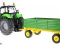 Siku 3266 - 2551 - Deutz Fahr Agrotron mit Zweiachs-Anhänger hinten links