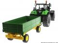 Siku 3266 - 2551 - Deutz Fahr Agrotron mit Zweiachs-Anhänger hinten rechts