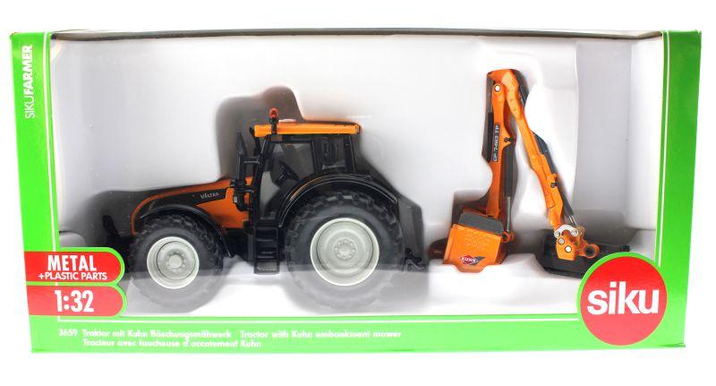 Siku 3659 - Valtra Traktor mit Kuhn Böschungsmähwerk Karton vorne