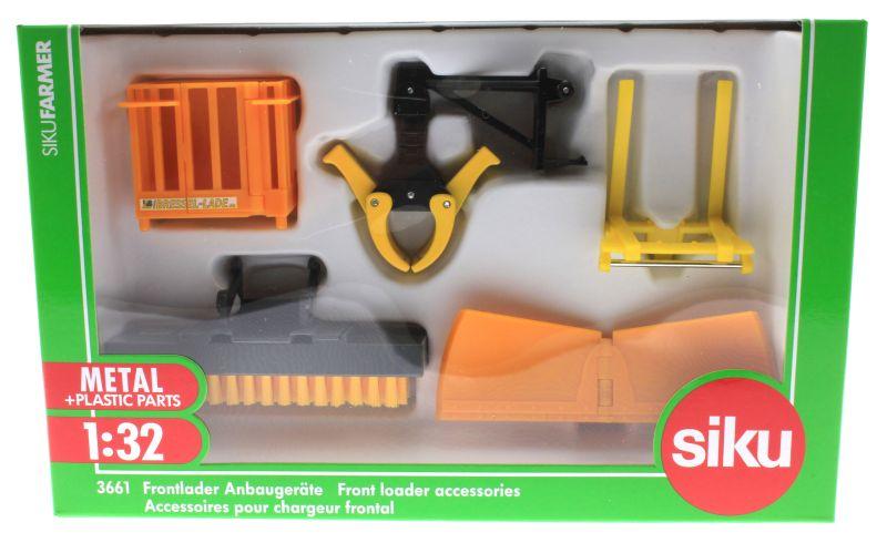 Siku 3661 - Frontlader Anbaugeräte Karton vorne