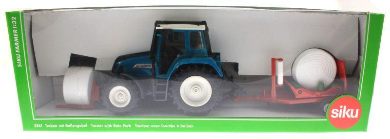 Siku 3861 - Fendt Farmer Vario 412 mit Ballengabel und Rundballenwickler Karton vorne