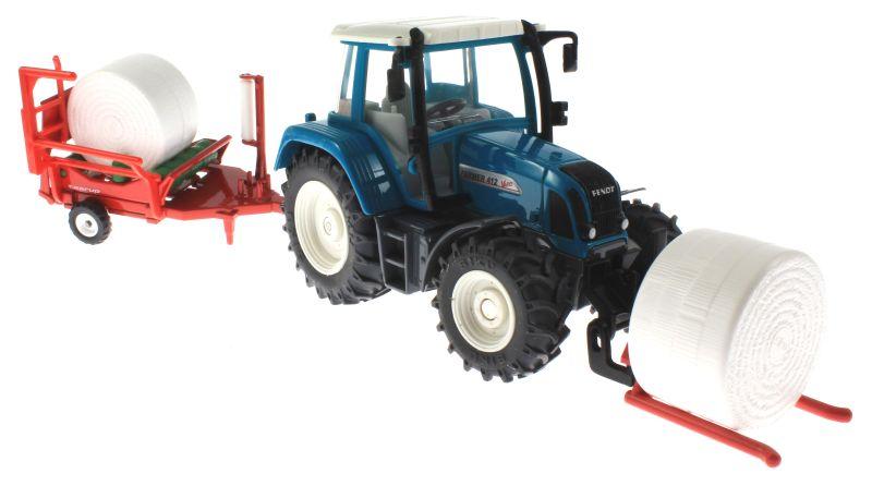Siku 3861 - Fendt Farmer Vario 412 mit Ballengabel und Rundballenwickler vorne rechts