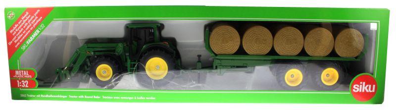 Siku 3862 - John Deere 6820 mit Frontlader und Rundballenanhänger Karton vorne