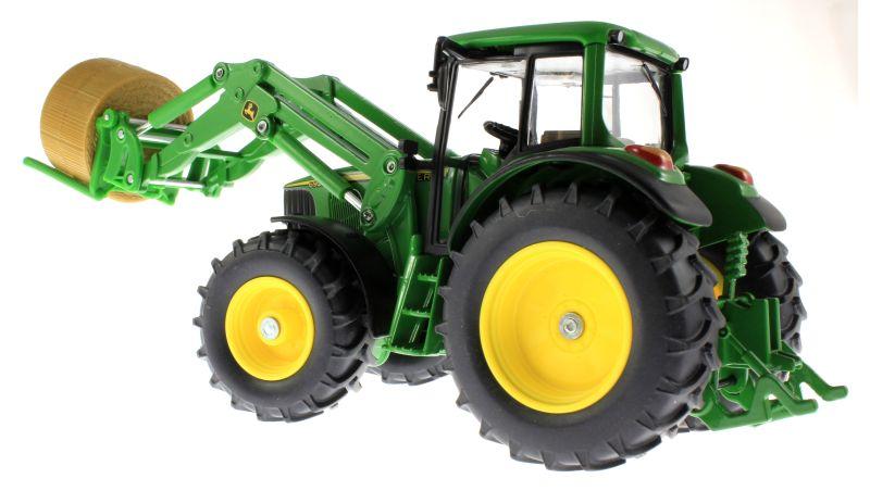 Siku 3862 - John Deere 6820 mit Frontlader und Rundballenanhänger Traktor unten hinten links