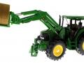 Siku 3862 - John Deere 6820 mit Frontlader und Rundballenanhänger Traktor links