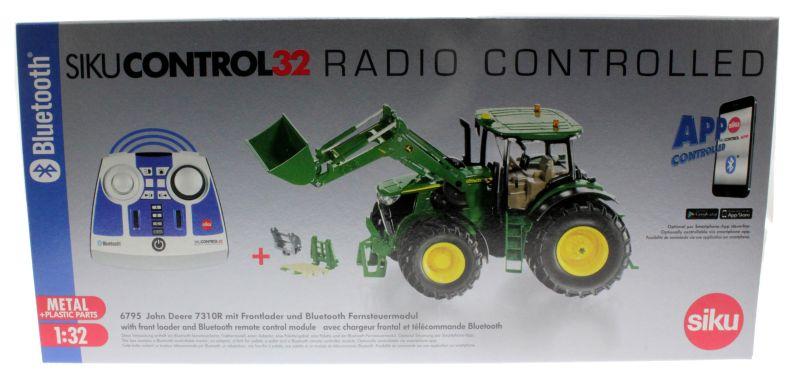 Siku 6795 - John Deere 7310R mit Frontlader und Bluetooth Fernsteuermodul Karon vorne