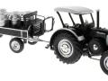 Siku 8602 - Lanz Bulldog mit klassischem Anhänger - Blackline vorne rechts