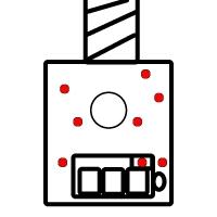 Fahrer Figur Einbau für den Siku Liebherr Bagger 6740 Ansicht von unten