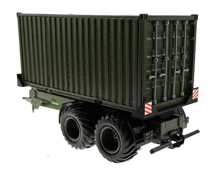 Anhänger für Siku 1:32 mit 20 Fuss Container Nato-Oliv-Grün hinten links
