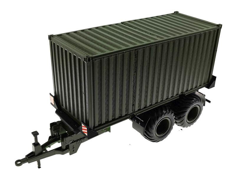 Anhänger für Siku 1:32 mit 20 Fuss Container Nato-Oliv-Grün vorne links