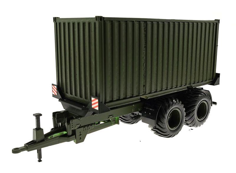 Anhänger für Siku 1:32 mit 20 Fuss Container Nato-Oliv-Grün