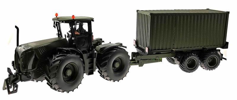 Siku Claas Xerion 5000 Traktor  Nato-Oliv-Grün mit Anhänger