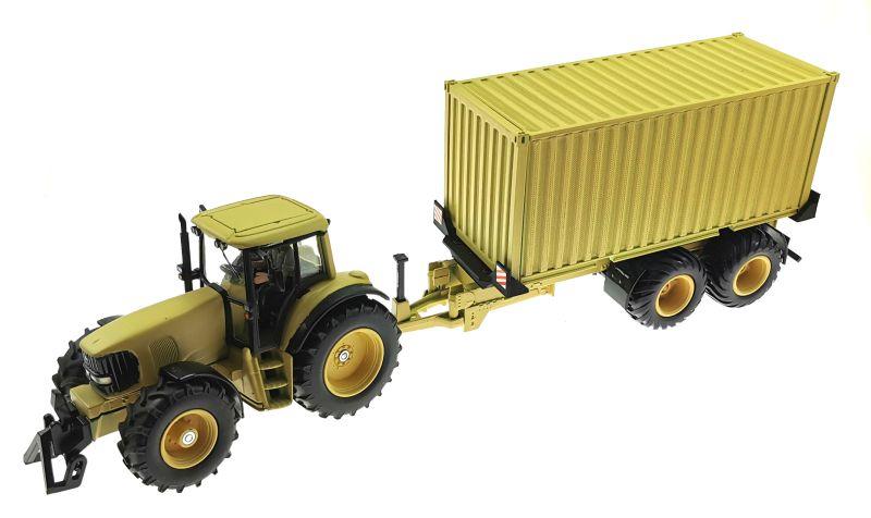 Siku John Deere Traktor 1:32 Sandfarben mit Anhänger oben