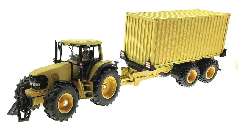 Siku John Deere Traktor 1:32 Sandfarben mit Anhänger