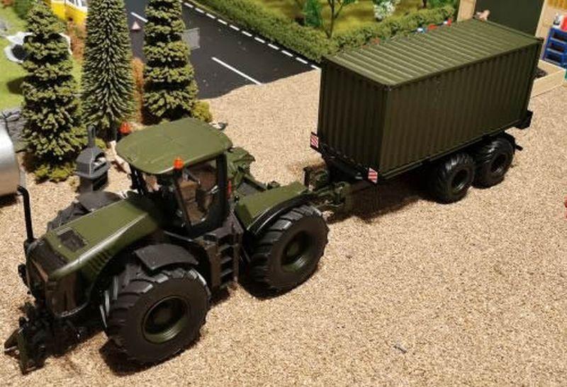 Siku Claas Xerion Militär Oiv Grün mit 20 Fuss Container
