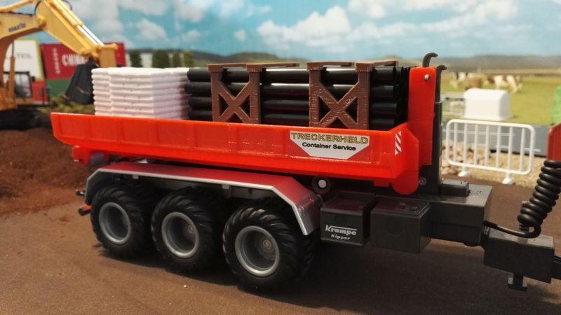 Mulden Container und Zubehör für Siku Hakenlift 6786 - Rote Mulde nah