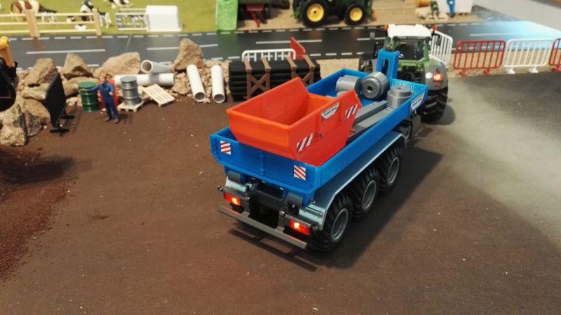 Mulden Container und Zubehör für Siku Hakenlift 6786 - Blau Mulde hinten