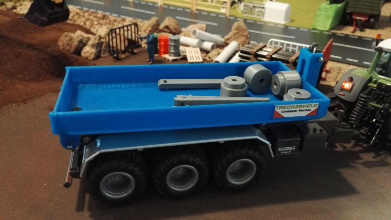 Mulden Container und Zubehör für Siku Hakenlift 6786 - Blau Mulde mit Schrott