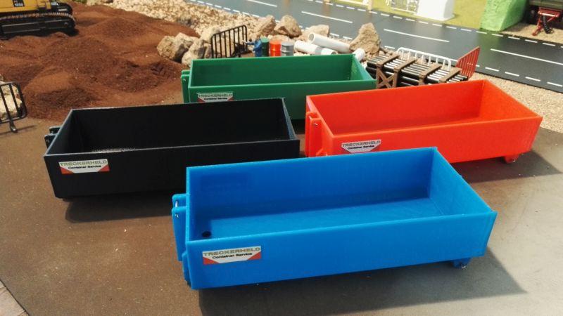 Mulden Container und Zubehör für Siku Hakenlift 6786 - Container in der Übersicht vorne