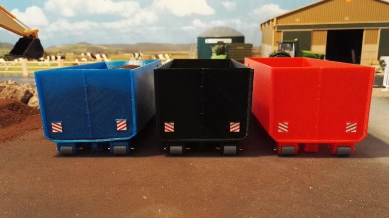 Mulden Container und Zubehör für Siku Hakenlift 6786 - Hoch-Container rot schwarz blau