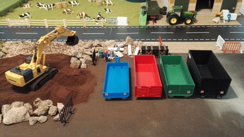 Mulden Container und Zubehör für Siku Hakenlift 6786 - blau rot grün schwarz
