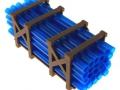 Treckerheld Palette mit Rohren Blau oben
