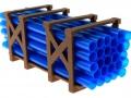Treckerheld Palette mit Rohren Blau vorne