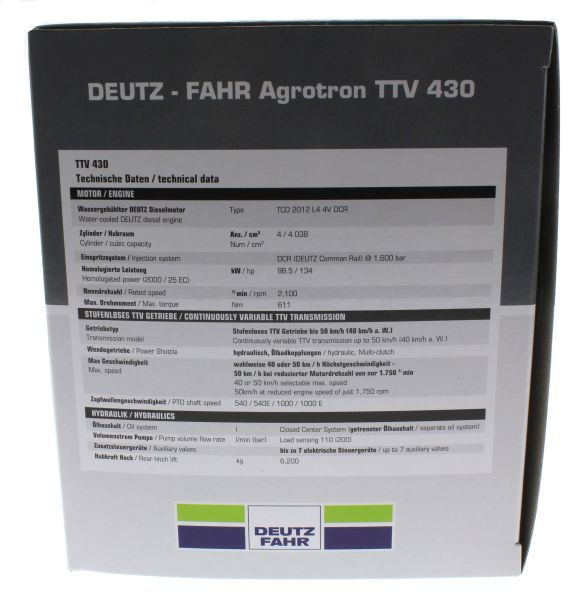 Universal Hobbies 4256 - Deutz-Fahr Agrotron TTV 430 Black Edition Karton Seite