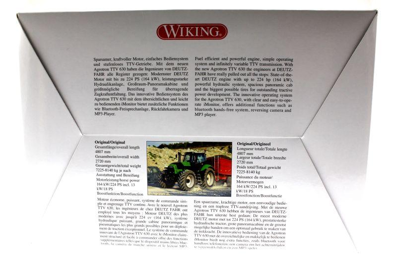 Wiking 7306 - DEUTZ-FAHR Agrotron TTV 630 Karton hinten