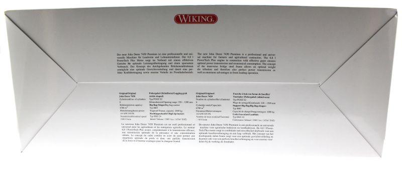 Wiking 7342 - John Deere 7430 mit Frontlader Kommunal Karton hinten