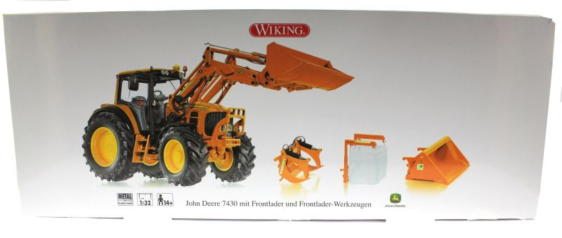 Wiking 7342 - John Deere 7430 mit Frontlader Kommunal Karton vorne