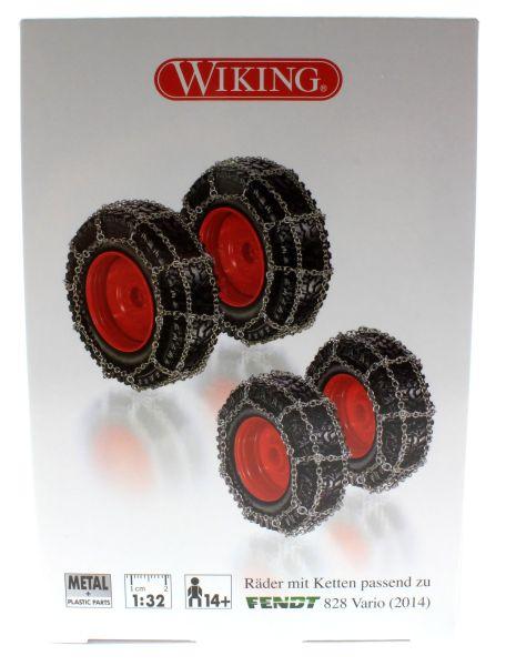 Wiking 7391 - Räder mit Kette für Fendt 828 Vario karton vorne
