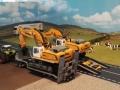 Siku Bagger auf LKW mit Megatrailer Tieflader Verbreiterung an Dolly hinten