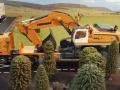 Siku Bagger auf gelben LKW mit Megatrailer Tieflader Verbreiterung