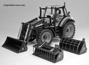 weise-toys 1045 - DEUTZ Agrotron C Shift mit Frontlader und 3 Werkzeugen